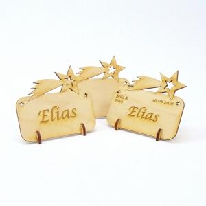 Tischkarte Sternschnuppe für Weihnachtstafel Namensschild Weihnachtlich aus Holz  - Handarbeit kaufen
