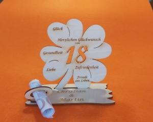 Personalisiertes Geldgeschenk ♥ zum 18. Geburtstag ♥ Kleeblatt Naturholz ♥ - Handarbeit kaufen