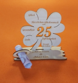 Personalisiertes Geldgeschenk ♥ zum 25. Geburtstag ♥ Kleeblatt Naturholz ♥ - Handarbeit kaufen