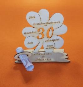 Personalisiertes Geldgeschenk ♥ zum 30. Geburtstag ♥ Kleeblatt Naturholz ♥  - Handarbeit kaufen