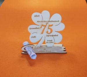 Personalisiertes Geldgeschenk ♥ zum 75. Geburtstag ♥ Kleeblatt Naturholz ♥    - Handarbeit kaufen
