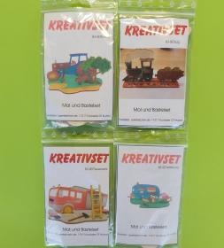 Kreativset 4 verschiedene Sorten zum bemalen für Kinder Traktor, Zug; Feuerwehr, Wohnwagen - Handarbeit kaufen