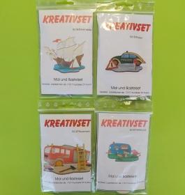 Kreativset 4 verschiedene Sorten zum bemalen für Kinder Dreimaster, Polizei, Feuerwehr, Wohnwagen - Handarbeit kaufen