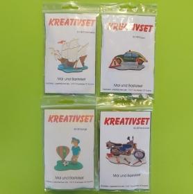 Kreativset 4 verschiedene Sorten zum bemalen für Kinder Dreimaster, Polizei, Fußball, Motorrad - Handarbeit kaufen