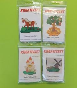 Kreativset 4 verschiedene Sorten zum bemalen für Kinder Pferd, Baum, Burg Prinzessin, Pferd Mühle - Handarbeit kaufen
