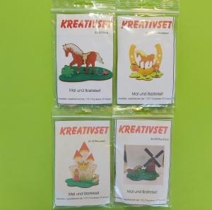 Kreativset 4 verschiedene Sorten zum bemalen für Kinder Pferd, Pferd Hufeisen, Burg Prinzessin, Pferd Mühle - Handarbeit kaufen