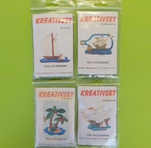 Kreativset 4 verschiedene Sorten zum bemalen für Kinder Segelschiff, Buttelschiff, Palme, Dreimaster - Handarbeit kaufen
