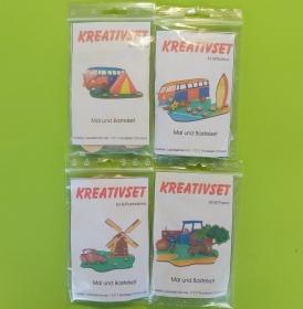 Kreativset 4 verschiedene Sorten zum bemalen für Kinder Reisebus, Bus, Surfbrett, Traktor Mühle, Traktor - Handarbeit kaufen