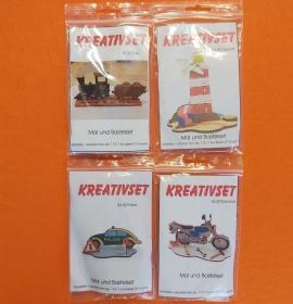 Kreativset 4 verschiedene Sorten zum bemalen für Kinder Zug, Leuchtturm, Polizei, Motorrad - Handarbeit kaufen