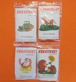 Kreativset 4 verschiedene Sorten zum bemalen für Kinder Moderner Traktor, Pferd, Pferd Hufeisen, Igel - Handarbeit kaufen
