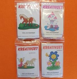 Kreativset 4 verschiedene Sorten zum bemalen für Kinder Pferd, Burg Katze, Fantasy, Blume Schmetterling - Handarbeit kaufen