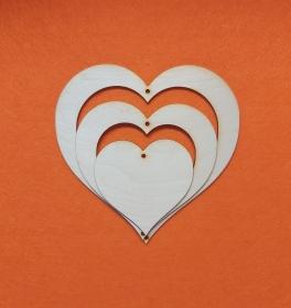 ♥ Herzen geschwungen ♥ aus Holz 3 Teile zum Aufhängen und bemalen - Handarbeit kaufen