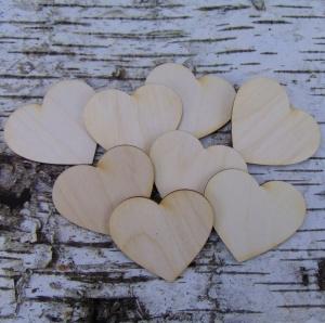 ♥ Herzen ♥8 Stck Holzherz.5 cm aus Birkenholz, zum bemalen, Hochzeitstischkarte Tischdeko   - Handarbeit kaufen