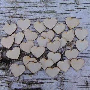 ♥ Holzherzen ♥ 30 Stck Volksfest Herz 3,0 cm aus Vollholz, zum bemalen, Hochzeitsdekoration, Tischdeko   - Handarbeit kaufen
