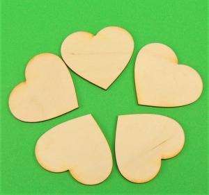 ♥ Herzen ♥ 8 Stck Volksfest Herz 6 cm aus Vollholz, zum bemalen, Hochzeitsdekoration, Tischdeko   - Handarbeit kaufen