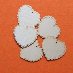 ♥ Herz ♥ 5 Stck 6 cm mit gravierten Rand  aus Vollholz, zum bemalen, Freundschaftsgeschenk  Tischdeko  - Handarbeit kaufen
