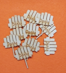 ♥ Blumenstecker ♥ 10 Stck  ♥ Danke ♥ 5 cm aus Vollholz, zum bemalen, Hochzeitsdekoration, Blumendeko   - Handarbeit kaufen