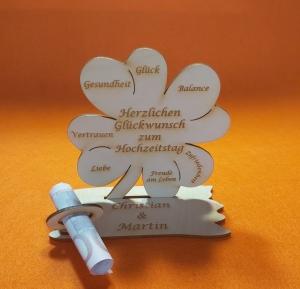 Personalisiertes Geldgeschenk ♥ zum Hochzeitstag ♥ Kleeblatt Naturholz ♥ 11 cm - Handarbeit kaufen