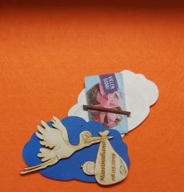 Geldgeschenk Wolke aus Birkenholz bemalt in blau ,★ Zur Geburt mit Name und Datum Personalisiert ★ Mit Wolke ca 15 cm breit  Holzteilchen DIY - Handarbeit kaufen