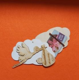 Geldgeschenk Wolke aus Birkenholz bemalt in weiß ,★ Zur Geburt mit Name und Datum Personalisiert ★ Mit Wolke ca 15 cm breit  Holzteilchen DIY - Handarbeit kaufen