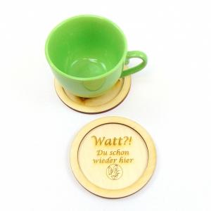 Holz Untersetzer ★Watt?! Du schon wieder hier ★ 11 cm, Tisch Untersetzer für Tassen, Personalisiert - Handarbeit kaufen