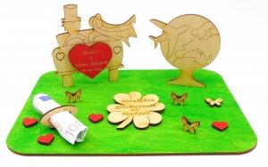 Geldgeschenk zur Hochzeit ♥ Hochzeitsauto Weltreise mit Flugzeug ♥ Hochzeitsgeschenk, Personalisiert - Handarbeit kaufen