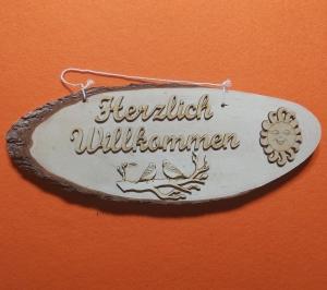 Baumscheibe Spruchtafel ★ Herzlich Willkommen ★ Türschild / Wanddekoration kaufen oder verschenken  - Handarbeit kaufen