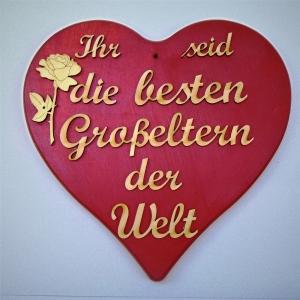 Spruch aus Naturholz ★ Ihr seid die besten Großeltern der Welt ★ in Rotmetallic ★ Türschild, Wanddeko, Haustürschild schenken  - Handarbeit kaufen