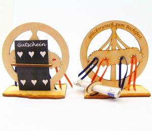 Geldgeschenk ♥ Zum Richtfest ♥ Holz 12,5 cm, Personalisiert, Geschenk - Handarbeit kaufen
