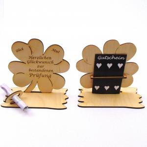 Kleeblatt Geldgeschenk ♥ Zur bestandenen Prüfung ♥ Holz 11,7 cm Personalisiert, Geschenk - Handarbeit kaufen