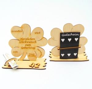 Kleeblatt Geldgeschenk ♥ Zum Geburtstag ♥ Holz 11,7 cm Personalisiert, Geschenk Naturholz graviert mit Namen  - Handarbeit kaufen