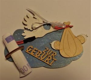 Geldgeschenk mit Wolke aus Birkenholz Handbemalt in Hellblau Metallic für Zwillinge ★ Zur Geburt ★ Holzteilchen DIY, Geldgeschenk - Handarbeit kaufen