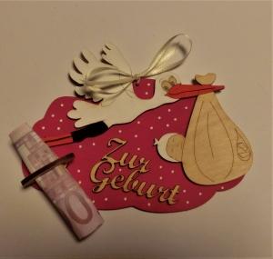 Geldgeschenk mit Wolke aus Birkenholz bemalt in Pinkmetallic ★ Zur Geburt ★ Holzteilchen DIY, Geldgeschenk - Handarbeit kaufen