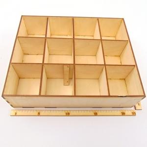 Kiste aus Holz ★ 12 Fächer ★ 22 cm lang 5 cm hoch, Perlen Kiste, Kleinteile, Schmuckkiste - Handarbeit kaufen