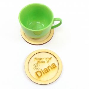 Naturholz graviert Tassen Untersetzer ★Finger weg! Mein´s! ★ 11 cm, Geschenk für Mitarbeiter Untersetzer für Tassen, Personalisiert - Handarbeit kaufen