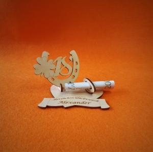Volljährig Geschenk für Freunde Geldscheinhalter ♥ Hufeisen mit Zahl 18 ♥  Wunschgravur aus Holz - Handarbeit kaufen