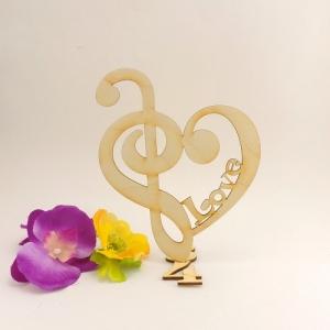 Notenschlüssel mit Bassschlüssel auf 3/4 Takt und Gravur Love 17,5 cm Personalisiert - Handarbeit kaufen