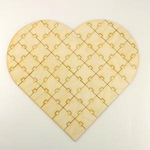 Holz Puzzle ♥ 47 Teile ♥ zum Bemalen bei Hochzeiten oder Fingerabdrücke, Individuell, Personalisiert - Handarbeit kaufen