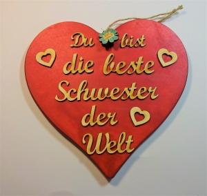 Spruch aus Holz ★ Du bist die beste Schwester der Welt ★ in Rotmetallic -Türschild, Wanddeko, Haustürschild schenken - Handarbeit kaufen