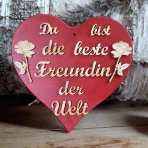 Spruch aus Holz ★ Du bist die beste Freundin der Welt ★ in Rotmetallic -Türschild, Wanddeko, Haustürschild schenken  - Handarbeit kaufen