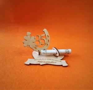 Personalisiertes Geldgeschenk Geburtstag ♥ Hufeisen mit Zahl 35 ♥  Wunschgravur, aus Holz - Handarbeit kaufen