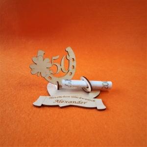 Geldgeschenk Personalisiert Goldene Hochzeit oder Geburtstag ♥ Hufeisen mit Zahl 50 ♥  Wunschgravur, Herz Personalisiert - Handarbeit kaufen