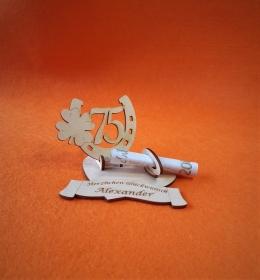 Geldgeschenk Geburtstag ♥ Hufeisen mit Zahl 75 ♥  Wunschgravur, Herz - Handarbeit kaufen