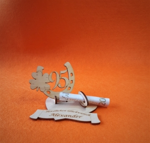 Geldgeschenk Geburtstag ♥ Hufeisen mit Zahl 95 ♥  Wunschgravur, Herz, Personalisiert, Geburtstagsgeschenk - Handarbeit kaufen