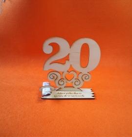 Geburtstagsgeschenk ★ Tischaufsteller mit der Zahl 20 ★ Tischdekoration, Geldgeschenk, Jubiläums Geschenk Geldgeschenk - Handarbeit kaufen