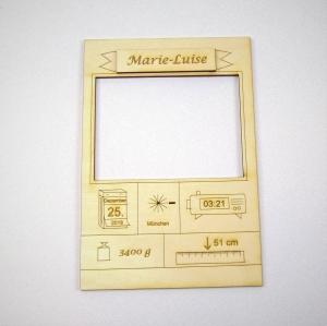 Geschenk ★ Zur Geburt mit Name Personalisiert ★ Bilderrahmen aus Naturholz mit  Gewicht Größe Datum Holzteilchen DIY  - Handarbeit kaufen