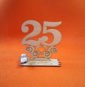Geburtstagsgeschenk ★ Tischaufsteller mit der Zahl 25 ★ Tischdekoration, Geldgeschenk, Naturholz graviert  - Handarbeit kaufen