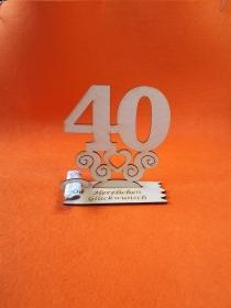 Geburtstagsgeschenk ★ Tischaufsteller mit der Zahl 40 ★ Tischdekoration, Geldgeschenk, Naturholz graviert - Handarbeit kaufen