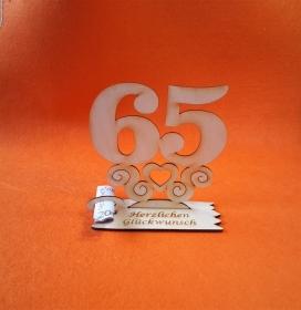 Geburtstagsgeschenk ★ Tischaufsteller mit der Zahl 65 ★ Tischdekoration, Geldgeschenk, Naturholz graviert - Handarbeit kaufen