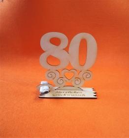 Geburtstagsgeschenk ★ Tischaufsteller mit der Zahl 80 ★ Tischdekoration, Geldgeschenk, Naturholz graviert - Handarbeit kaufen